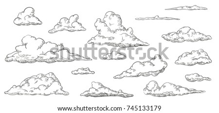 Set of clouds in hand drawn vintage retro style isolated on white background. Cartoon design elements. Vector illustration.