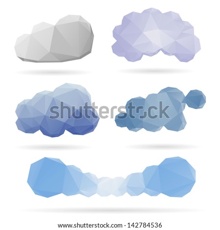 Set of clouds isolated on a white backgrounds