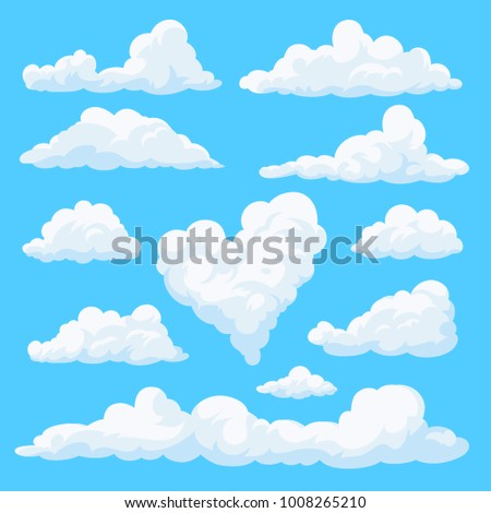 set of clouds isolated on blue