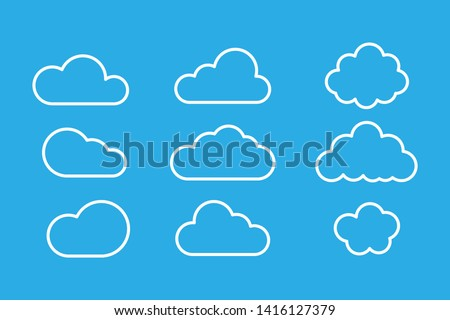 Set of clouds isolated on blue background. Weather signs. White paper stickers. Collection of clouds icon. EPS 10