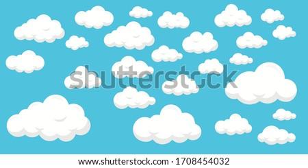 Set of clouds on blue background, flat design - editable vector illustration