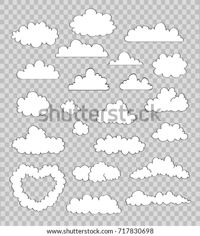 set of clouds on transparent