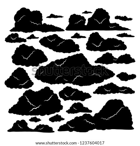 Set of clouds silhouette, Clouds isolated on white Background , Clouds patterns and clouds icons, filling sky scenes backgrounds.