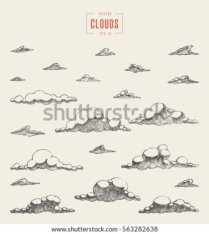 Set of clouds, vector illustration, hand drawn, sketch