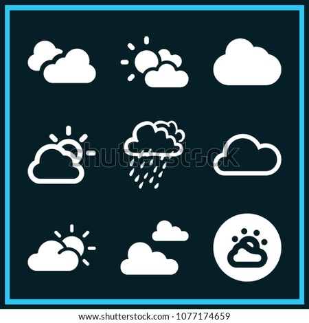 Set of 9 cloudy filled icons such as single cloud, cloudy day outlined weather interface symbol, cloudy, two clouds with different size, weather, clouds