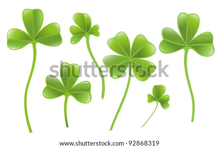 Set of clover leafs isolated on the white background.