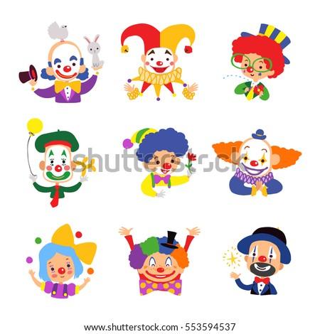 set of clown cartoon icon