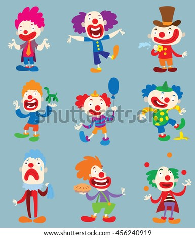 set of clown character