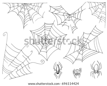 Set of cobwebs and spiders Sketch marker. Vector