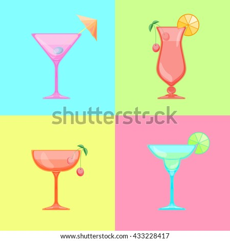 set of cocktail icons martini