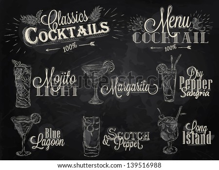 set of cocktail menu with
