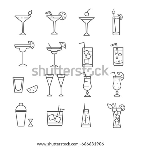 set of cocktail related vector