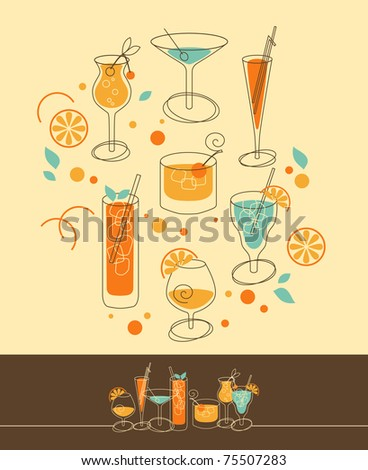 set of cocktails in retro styled