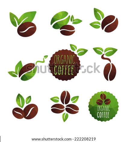 Set of coffee beans label designs organic various icons green and brown coffee
