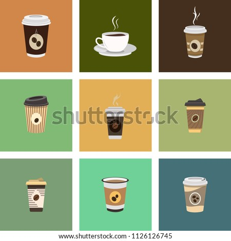 Set of Coffee Cup - Mockup template for Cafe, Restaurant brand identity design. Black, White, Brown cardboard Coffee Cup Mockup. Disposable plastic and paper vector template for Hot Drinks