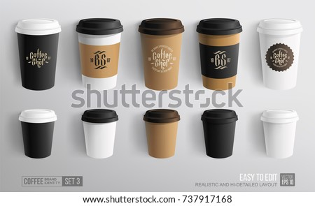 Set of Coffee Cup - Mockup template for Cafe, Restaurant brand identity design. Black, White, Brown cardboard Coffee Cup Mockup. Disposable plastic and paper tableware vector template for Hot Drinks
