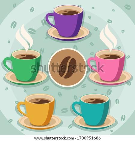 set of 5 coffee cups on light