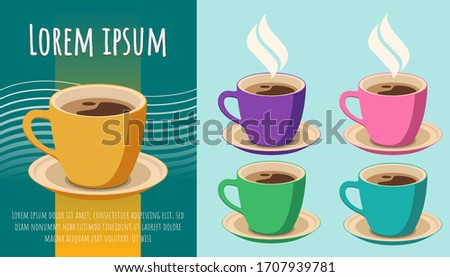 set of 5 coffee cups on light