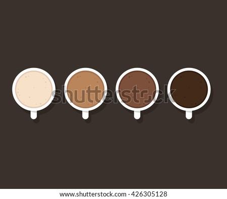 set of coffee cups with