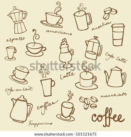 Set of Coffee doodles vector