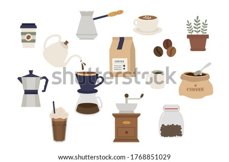 Set of coffee elements collection. Coffee supplies icons. make coffee. French press, coffee makers, cup, pot, grinder and packaging. object, accessory, Flat minimal style icons. Vector illustration.