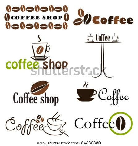 Set of coffee label designs. Vector illustration