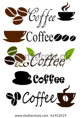 Set of coffee label or logo designs. Vector illustration