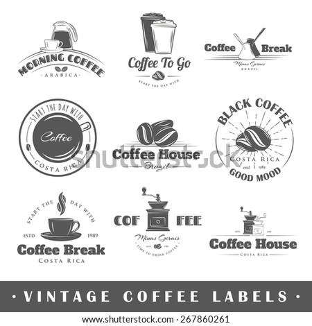 set of coffee labels elements