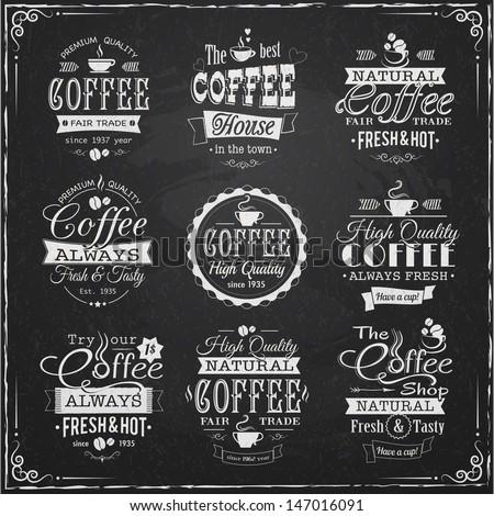 set of coffee labels on chalkboard eps10 vector illustration