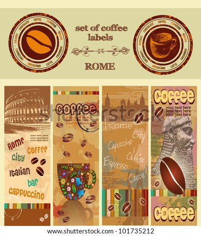 set of coffee labels, Rome