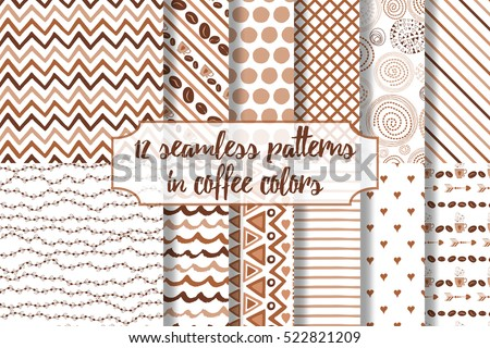 set of coffee seamless pattern