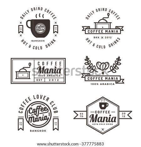 Set of coffee shop labels, banner, ribbon, logo and badges. Flat design vector illustration.