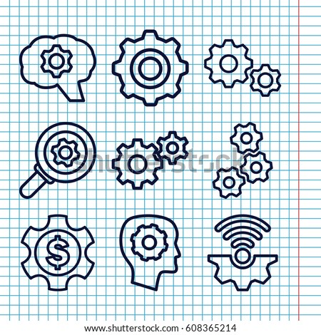 Set of 9 cog outline icons such as gear in head
