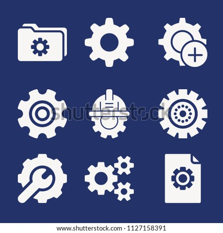 Set of 9 cogwheel filled icons such as settings, settings, setting, gear, engineering