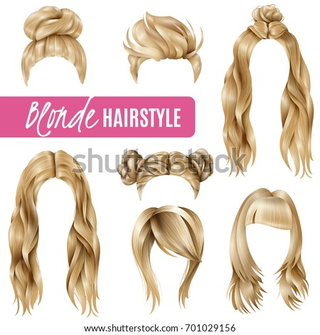 Set of coiffures for blond women with stylish haircuts and long hair, braided strands isolated vector illustration