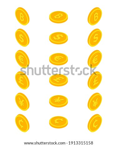 Set of coin icons. Coin dollar, euro, yuan, bitcoin, cent and centavo, pound . Currency symbols in isometric 3d style. Vector illustration.  Stock photo ©