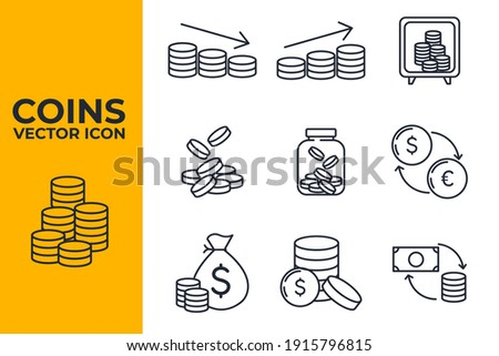 Set of Coins icon. money coin business coin pack symbol template for graphic and web design collection logo vector illustration