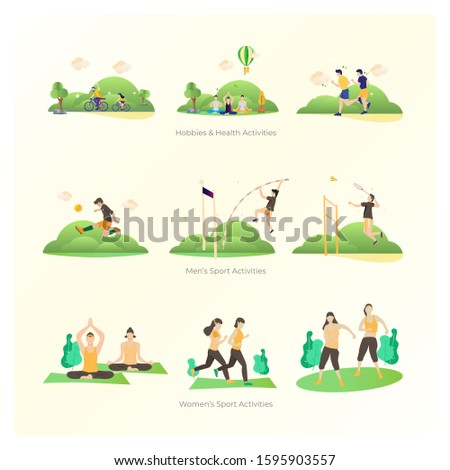 Set of collection flat design about male and female sport activities, Hobbies and activities illustration