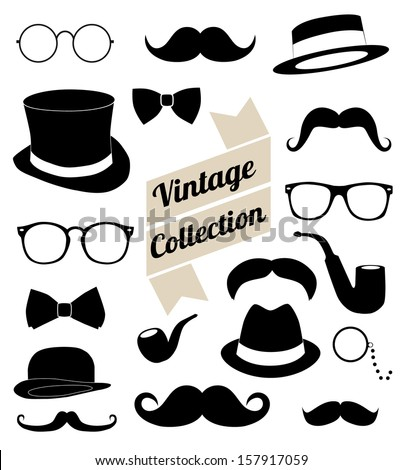 set of collection vintage fashion elements. vector illustration  Сток-фото ©