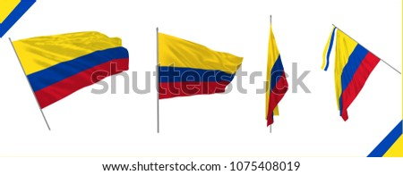 Set of Colombia state waving flags in solemn or proud style. Vector illustration. Real cloth effect.