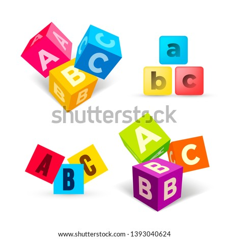 Set of color ABC blocks flat icon. Alphabet cubes with A,B,C letters in flat design. Vector illustration. Isolated on white background.