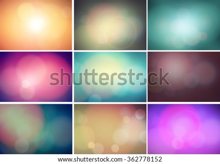 set of color abstract blurred
