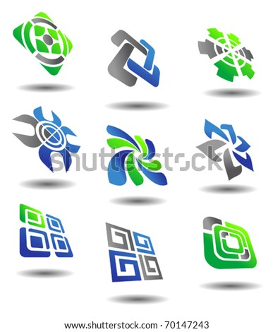 Set of color abstract symbols for design - also as emblem or template. Jpeg version also available in gallery