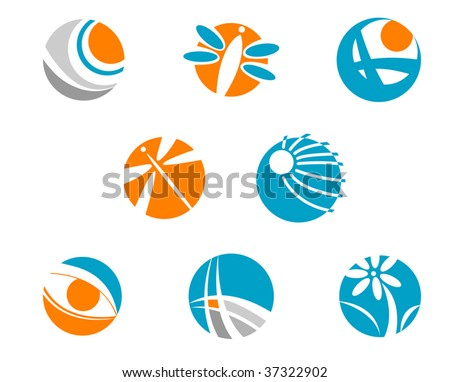 Set of color abstract symbols isolated on white - emblem or logo template. Nature, animal and signs pictograms