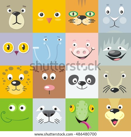 set of color animal faces