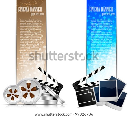 Set of color banners with cinema element