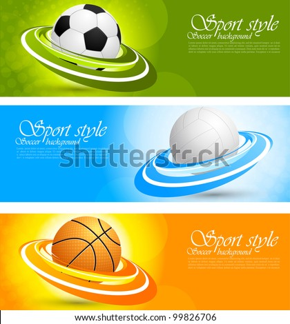 Set of color banners with sport balls