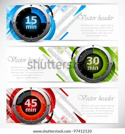 Set of color banners with three timers