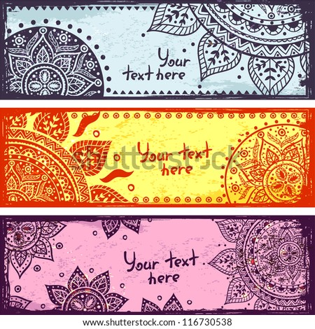 Set of Color bookmarks with ethnic ornaments