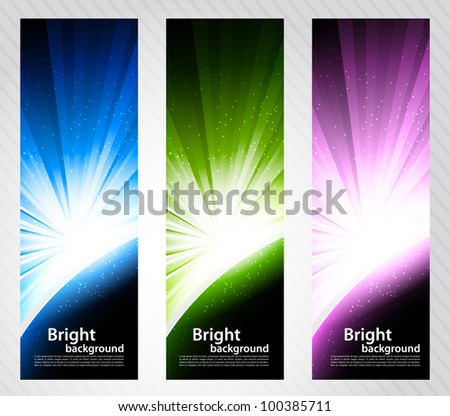 Set of color bright banners with rays